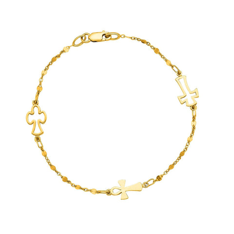 14K Yellow Gold Cable Chain Bead And Cross Bracelet, 7""