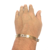 14k Yellow And White Gold Fancy Link Mens Bracelet, 8.25""