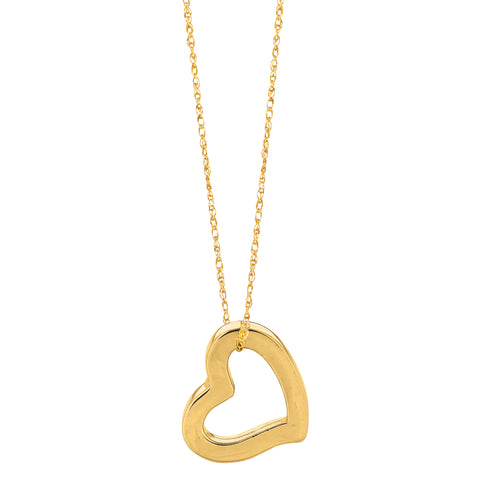 "14k Gold Heart Shaped Tube Pendant On 18"" Necklace"