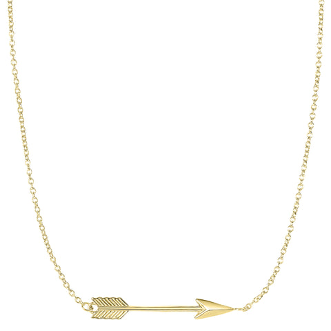 "14k Gold Side Ways Arrow Necklace, 17"" To 18"" Adjustable"