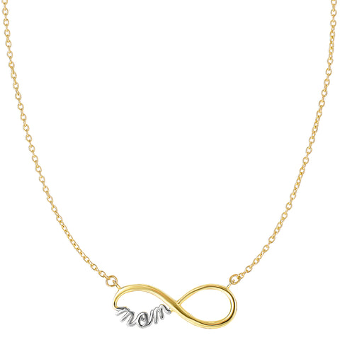 14k 2 Tone Gold Infinity Pendant With Script Mom Necklace, 18""