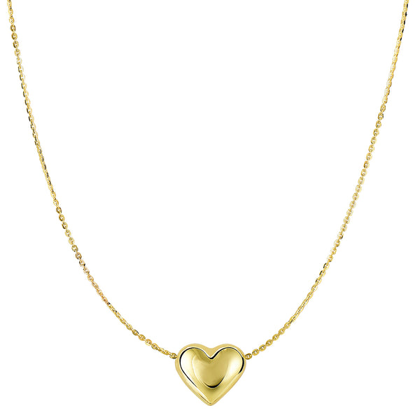 14k Yellow Gold Sliding Puffed Heart Pendant Necklace, 18""