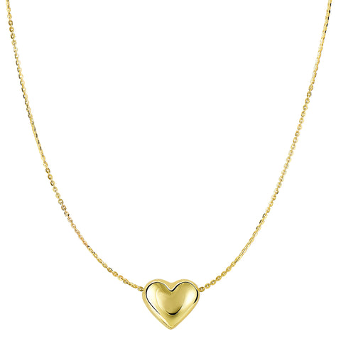 "14k Yellow Gold Sliding Puffed Heart Pendant On 18"" Necklace"