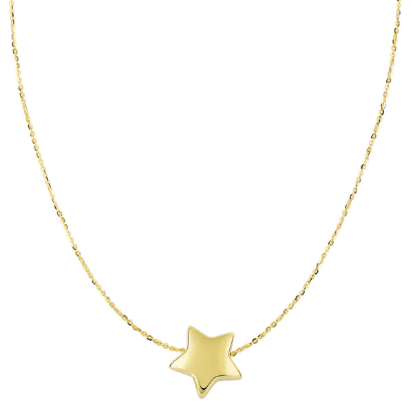 14k Yellow Gold Sliding Puffed Star Pendant Necklace, 18""