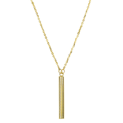 "14k Yellow Gold Textured Hanging Hollow Cylinder Bar Pendant On 18"" Necklace - JewelryAffairs  - 1"