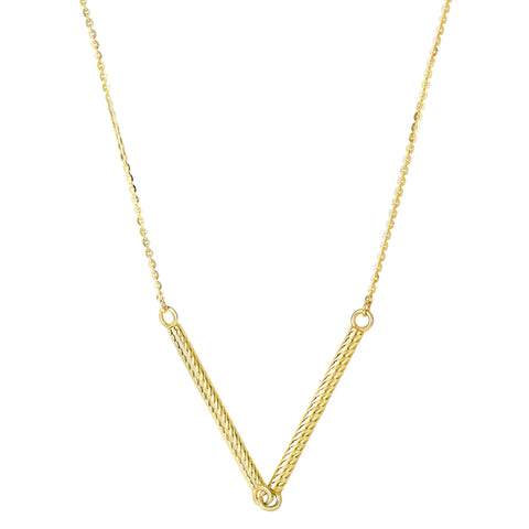 "14k Yellow Gold Double Textured Hanging Hollow Cylinder Bar Pendant On 18"" Necklace - JewelryAffairs  - 1"