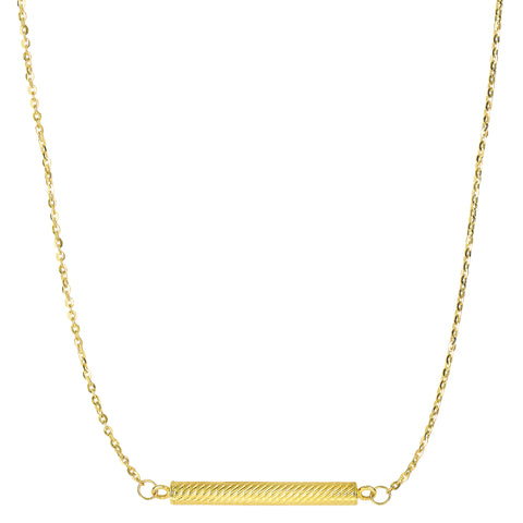 "14k Yellow Gold Textured Hollow Cylinder Bar Sideways Pendant On 18"" Necklace - JewelryAffairs  - 1"