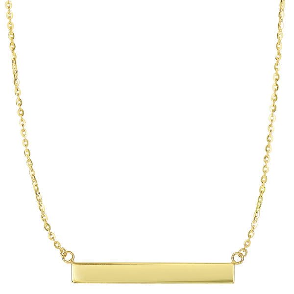 14k Yellow Gold Engravable Bar Sideways Pendant Necklace, 18""