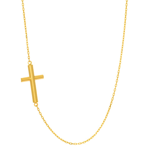 14k Yellow Gold Sideways Tube Cross Pendant Necklace, 18""