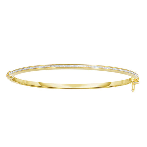 14k Yellow Gold Shiny Oval Shape White Glitter Bangle Bracelet, 7.25""