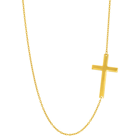"14k Gold Sideways Cross Pendant On 18"" Necklace - JewelryAffairs  - 1"