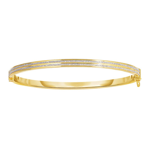 14k Yellow Gold Oval Shape Double Row White Glitter Bangle Bracelet, 7.25""