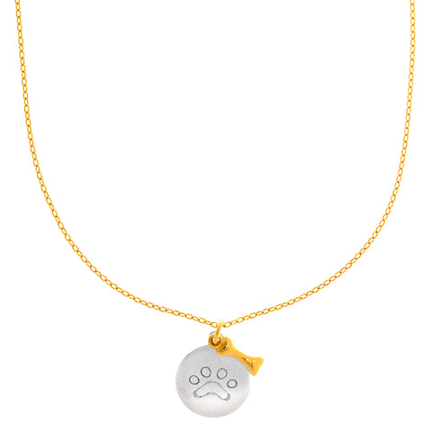 "14k White Gold Round Paw Charm And Yellow Gold Dog Bone Pendant On 17"" Necklace - JewelryAffairs  - 1"