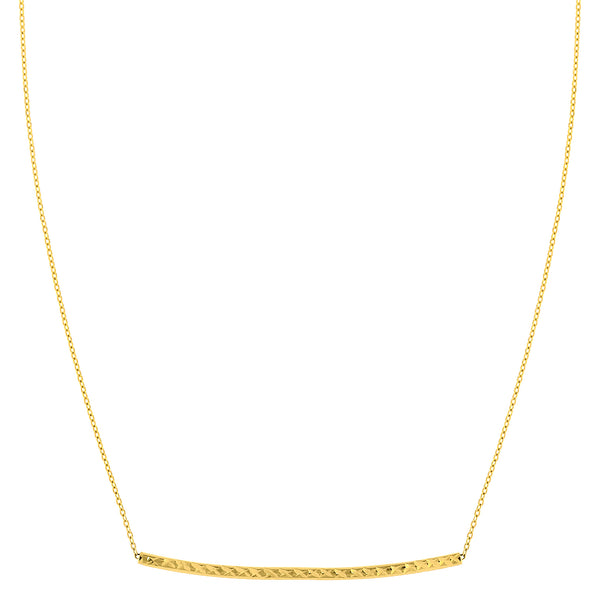 "14K Yellow Gold Diamond Cut Sideways Curved Bar Pendant On 17"" Necklace - JewelryAffairs  - 1"