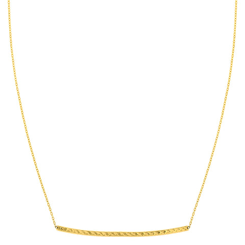 14K Yellow Gold Sideways Curved Bar Pendant Necklace, 17""