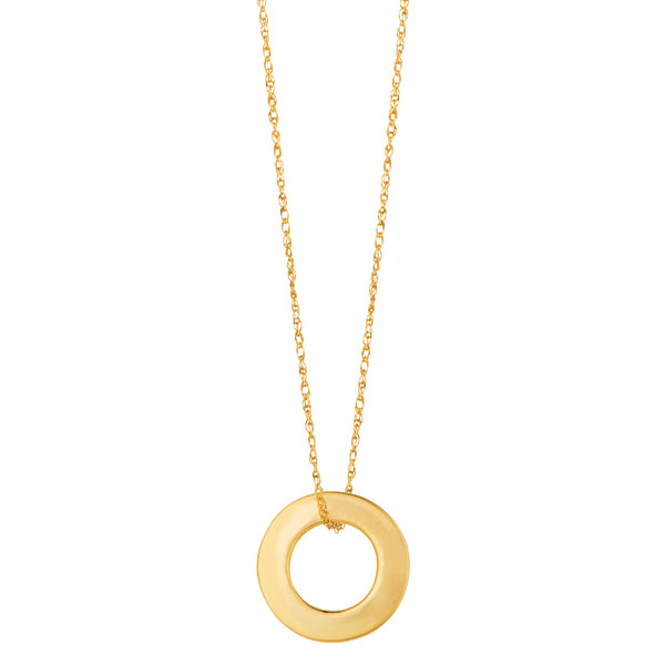 14k Yellow Gold Circle Shaped Pendant Necklace, 18""