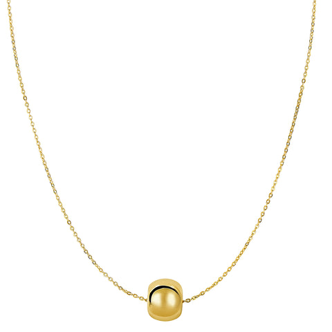 14k Yellow Gold Shiny 8mm Round Bead Charm Necklace, 18""