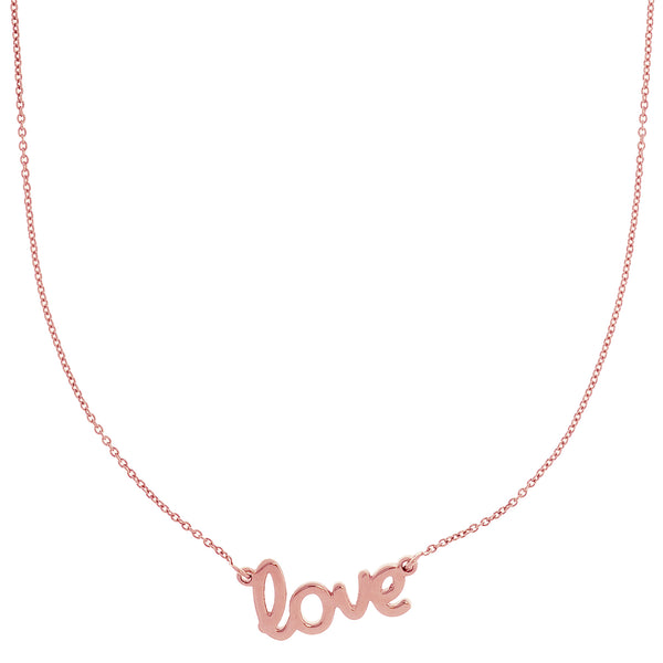 14k Gold Love Script Pendant Necklace, 18""