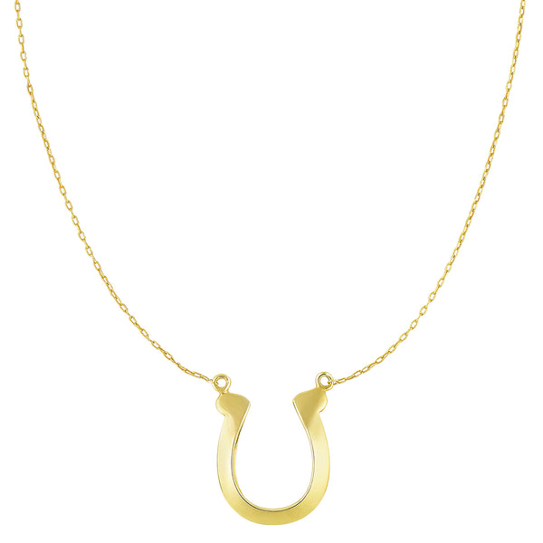 14k Yellow Gold Shiny Lucky Horse Shoe Pendant Necklace, 18""