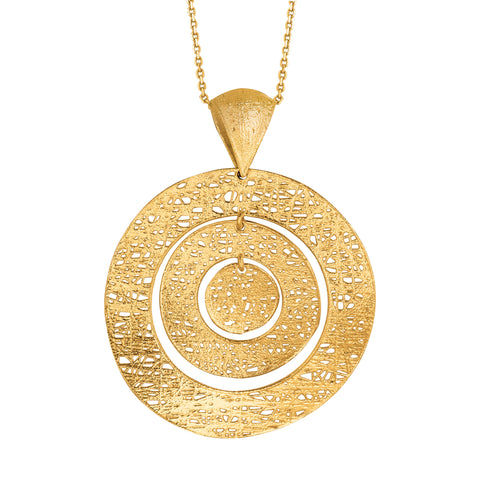 14k Yellow Gold Birds Nest Weave Inspired Circles Design Pendant Necklace, 18""