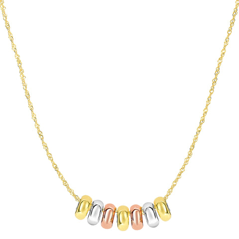 "14k 3 Color Yellow White And Rose Gold 7 Sliding Shiny Ring Charms On 18"" Necklace - JewelryAffairs  - 1"