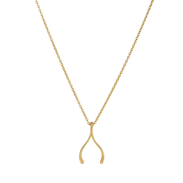 14k Yellow Gold Wishbone Charm Chain Necklace, 17""