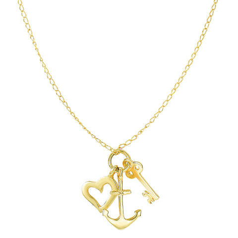 14k Yellow Gold Key Anchor And Heart Charms Necklace, 18""