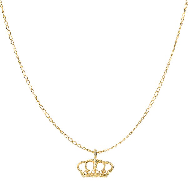 14k Yellow Gold Shiny Crown Pendant Necklace, 18""