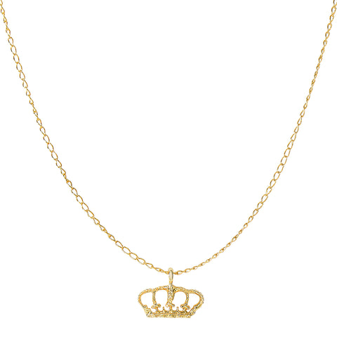 "14k Yellow Gold Shiny Crown Pendant On 18"" Necklace - JewelryAffairs  - 1"