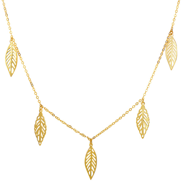 14k Yellow Gold 5 Hanging Leaf Pendants Necklace, 18""