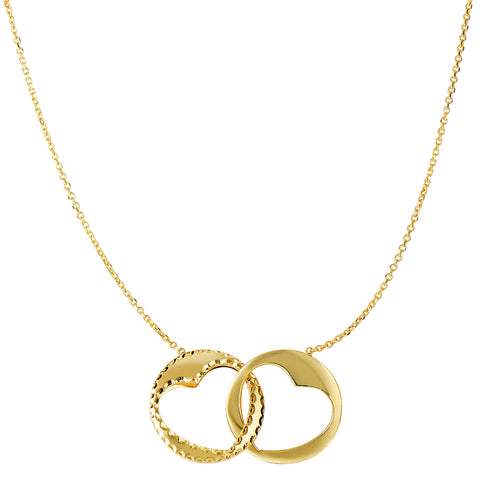 "14k  Yellow Gold Heart Pendants Necklace, 16"" To 18"" Adjustable"