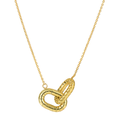 "14k Yellow Gold Shinny And Matt Finish Interconnected Oval Element Links On 18"" Necklace - JewelryAffairs  - 1"