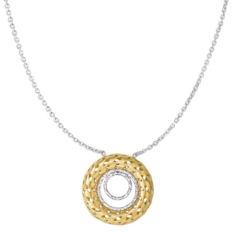 "14k 2 Tone Gold Double Circle Element Pendant On 18"" Necklace - JewelryAffairs  - 1"
