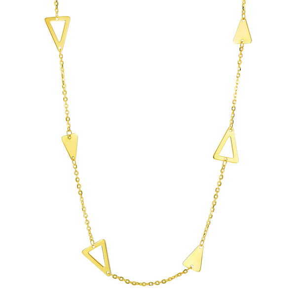 14k Yellow Gold Triangle Charm Necklace, 18""