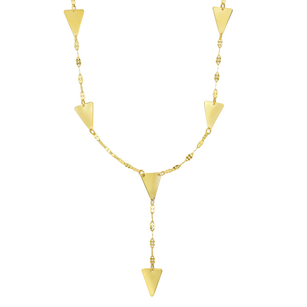 14k Yellow Gold Solid Triangle Charms Necklace, 17""