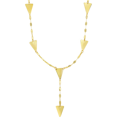 "14k Yellow Gold 4 Sideways 2 Downwards Solid Triangle Charms On 17"" Necklace - JewelryAffairs  - 1"