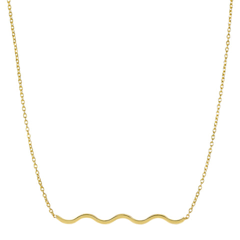 14k Yellow Gold Wave Charm Pendant Necklace, 18""