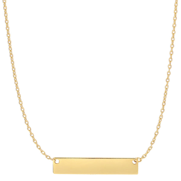14k Gold Engravable Bar Pendant Necklace, 18""