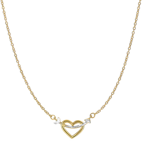 14K Two Tone Gold Arrow Through Open Heart Pendant Necklace, 18""