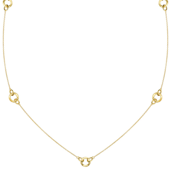 14k Yellow Gold Multi Round Station Links Necklace, 32""