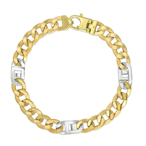 14k Yellow And White Gold Diamond Cut Curb Mariner Link Mens Bracelet, 8.5""