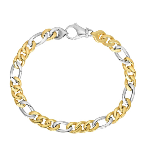 14k Yellow And White Gold Diamond Cut Figaro Link Mens Bracelet, 8.5""