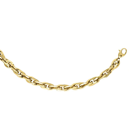 14k Yellow Gold Double Oval Link Chain Womens Necklace, 18""