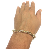 14k Yellow And White Gold Oval Link Mens Fancy Bracelet, 8.25""