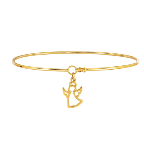 14k Yellow Gold Shiny Thin Bangle with Open Silhoutte Angel Charm, 7.25""
