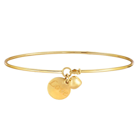 14k Yellow Gold Shiny Thin Bangle with Puff Heart And Love Engraved Plate Charm, 7.25""