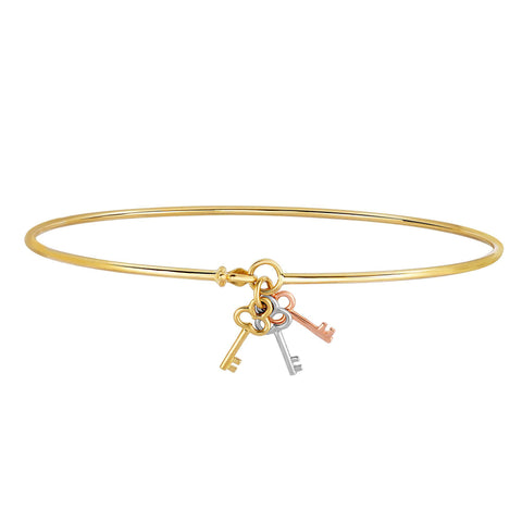 14k Yellow Rose White Gold Shiny Thin Bangle With Tri Color Gold Clover Key Charm, 7.25""
