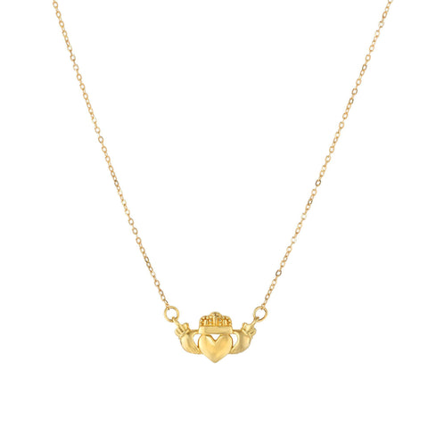 14k Yellow Gold Polished Claddagh Center Charm On Chain Necklace, 17""