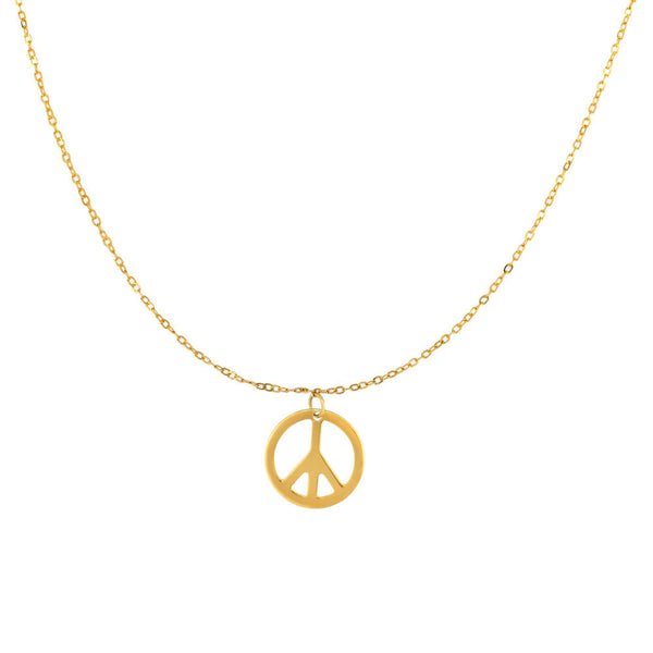14k Yellow Gold Polished Peace Symbol Charm Link Chain Necklace, 17""