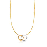 14k Yellow And White Gold Double Ring Anchor Chain Necklace, 17""